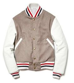 Here we have a look at New York designer Thom Browne's Varsity Jacket for the upcoming F/W 2012 season. We've seen him do varsity jackets in the past but this is our personal favorite to date. The light brown tweed is so… Varsity Jacket Outfit, Fall Jackets, Well Dressed Men, Thom Browne, Looks Style, Men's Style, Men's Fashion, Fashion Menswear, Lifestyle Fashion