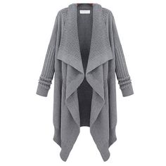 becfc29580d Price  33.99 Color  Gray Black Material  Wool European Style Leisure Lapel  Irregular Knit Cardigan