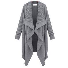 Price:$33.99 Color: Gray/Black Material: Wool European Style Leisure Lapel Irregular Knit Cardigan