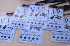 "Make sure your guests have V. passes for the ""Don't say baby"" game! Just buy clear badge holders, print on cardstock and cut to fit in holder. Use ribbon to create make into necklaces! Music Baby Showers, Rock Baby Showers, Star Baby Showers, Baby Shower Games, Baby Boy Shower, Dont Say Baby Game, Rockabilly Baby, Baby Bash, Diaper Shower"