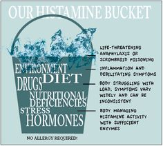 The many faces of histamine intolerance. Itching? IBS? Headaches? Sinus congestion? Palpitations? Nausea? Dizziness? Flushing? Edema? Eczema? Fatigue? HOW FULL IS YOUR BUCKET LOAD? Stress, diet, drugs add to your load ...