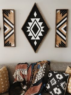 XL Aztec Diamond - - - 41 x - black and white chalk paint - dark stained wood frame - sawtooth hanger on the back for easy hanging. Decor Room, Living Room Decor, Diy Home Decor, Bedroom Decor, Wood Bedroom, Bedroom Office, Office Decor, Aztec Room, Aztec Nursery
