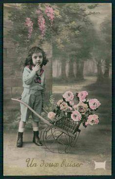 Pretty Edwardian Child Boy Wheelbarrow original vintage old 1910 photo postcard