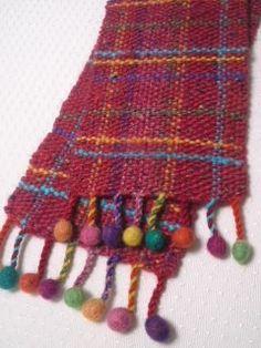 ★カラフル手織りポンポン付きマフラー Cowichan Sweater, Tear, Loom, Shawl, Scarves, Weaving, Knitting, Crochet, Fashion