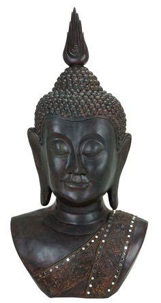 POLYSTONE BUDDHA BUST SYMBOL OF HAPPINESS
