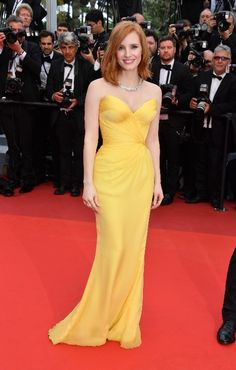 Jessica Chastain  Shining stars signed Giorgio Armani on the red carpet at the Cannes Film Festival 2016  photo © by George Pimentel