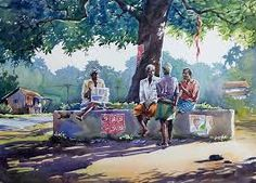 Image result for landscape painting by indian village scene