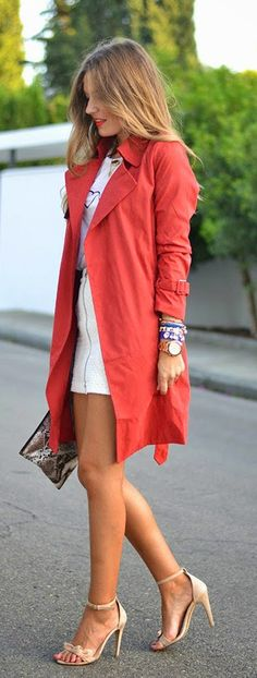 Chic In The City -  Red Lapel Coat With Long Sleeve- #LadyLuxuryDesigns