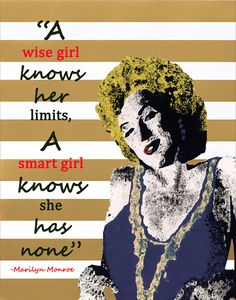 """Marilyn Monroe Portrait Giclee Canvas Art Print 8x10, 11x14 or 16x20 On Gallery Wrapped Canvas by Artist Amber McDowell. Giclee canvas art print of my original Marilyn Monroe painting. I have added some graphics to this piece, including an inspirational quote by Marilyn Monroe. Gallery wrapped canvas is printed with 100% archival inks with a 12 color process for perfect vibrant colors. These prints come with hanging hardware installed and felt bumpers. Gallery wrapped canvas are 1.5"""" in..."""