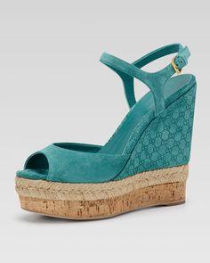 Gucci - Suede Wedge Espadrille Sandal, Dark Green