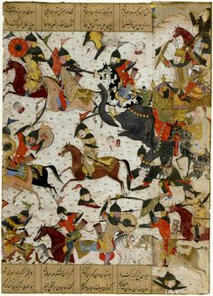 This 15th century manuscript painting shows a fierce cavalry battle between two much earlier Sasanian kings, Khusrow II and Bahram VI.