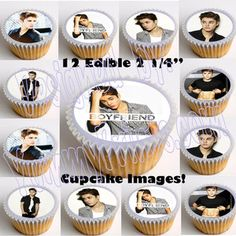 """Justin Bieber Edible 2.25"""" Image Cup Cake Toppers-12pc, cut & paste, no peel"""