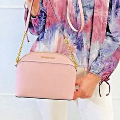 cbe573661bb5 Details about Michael Kors Emmy Jet Set Crossbody Cindy Dome Bag Leather  Blossom