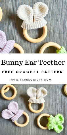 This Free Bunny Ear Teether crochet pattern is a classic and functional crochet project. This simple teether takes less than an hour to make and is the perfect present for your next baby shower. This Free Bunny Ear Teether crochet pattern is a clas Crochet Baby Toys, Crochet Bebe, Crochet Animals, Diy Crochet, Simple Crochet, Easter Crochet Patterns, Amigurumi Patterns, Baby Patterns, Crochet Bunny Pattern
