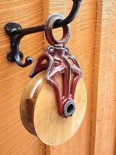 Antique / Vintage Very Nice! Rustic Outdoor Decor, Outdoor Decorations, Memorial Day Foods, Polaroid, Farm Tools, Dog Shop, Vintage Farm, Barn Door Hardware, Pulley
