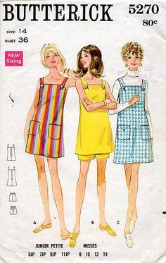 1960s Mini Jumper Dress & Shorts Pattern Butterick 5270