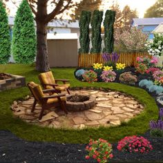 70 Backyard Landscaping Ideas On A Budget That Recommended For You 70 Hinterhof Landschaftsbau Ideen Fire Pit Backyard, Backyard Patio, Backyard Seating, Backyard Plants, Concrete Backyard, Sloped Backyard, Garden Seating, Pergola Patio, Front Yard Landscaping