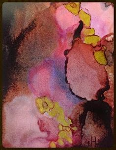"Lou Jordan Fine Art: Abstract Expressionism, Mixed Media, Alcohol Ink Painting ""Trailing Arbutus"" by New Orleans Artist Lou Jordan-http://loujordanfineart.blogspot.com/2015/02/abstract-expressionism-mixed-media.html"