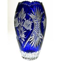 Bohemian Crystal Vase - Blue