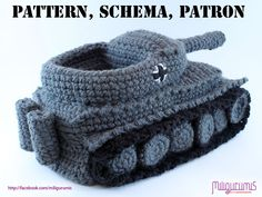 It's a HOUSE SLIPPER, y'all! Your loved one can battle the cats at their level! Christmas will be here before you know it. [PATTERN for Tiger 1 Tank  - Panzer Crocheted Slippers via Etsy]