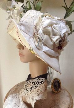 FREE SHIPPING Romantic Posh 1940s inspired Sun Hat, with French Antique Lace Trim. Cream Linen with Embroidered Silk. 2015 summer collection by fleursenfrance. Explore more products on http://fleursenfrance.etsy.com