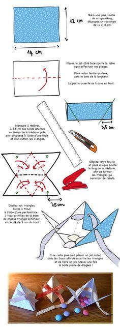DIY mariage : des boîtes à dragées en forme de pyramides: