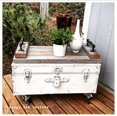 Up-cycled vintage trunk with a custom made wood tray made from 2x4's from a 100 year old barn. Follow/like us on Pinterest, Instagram, Facebook, and Twitter to stay in touch with our latest re-purposed and refinished furniture designs. Visit us at: http://www.vintageandrestorebyk.com/