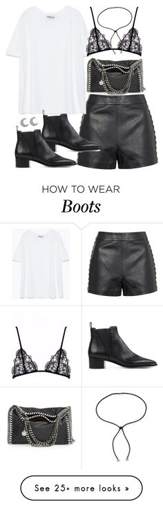 """Outfit for summer with leather shorts"" by ferned on Polyvore featuring Topshop, Zara, STELLA McCARTNEY, Lanvin, Acne Studios and Sydney Evan"