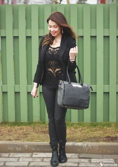 Black Long Sleeve Hollow Crochet Lace Blouse -SheIn(Sheinside)