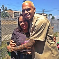 NICE PICTURE Of Chris Brown Smiling With A Friend Today In Compton! #TeamBREEZY