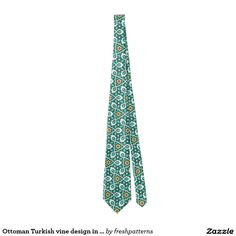 Ottoman Turkish vine design in green and white Tie