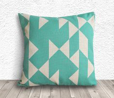 Geometric Pillow Cover, Pillow Cover, Turquoise Pillow Cover, Linen Pillow Cover, 18x18 - Printed Geometric - 010