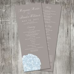 Hydrangea Wedding Program by pinklilypress on Etsy