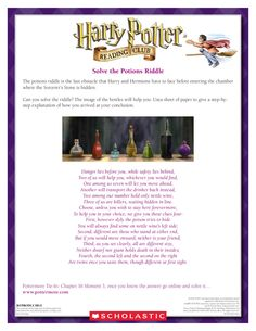 LOGIC PUZZLE: Solve the Riddle of the Potions! Download by clicking the image above! For more activities visit www.scholastic.com/hpreadingclub #HarryPotter #HPread