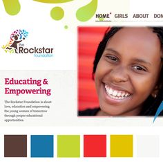 a primarily bright palette from The Rockstar Foundation Website Color Schemes, Web Colors, Web Design Inspiration, Foundation, Wordpress, Palette, Branding, Social Media, Bright