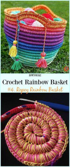 *PATTERN* Ropey Rainbow Basket Free Crochet Pattern - #Crochet Rainbow #Basket Free Patterns