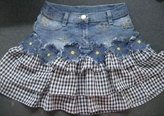 Sewing of old jeans We sew from old jeans. Sewing of old jeans ~ DIY Tutorial Ideas! Diy Clothing, Sewing Clothes, Sewing Jeans, Diy Fashion, Fashion Kids, Skirt Fashion, Diy Kleidung, Denim Ideas, Denim Crafts
