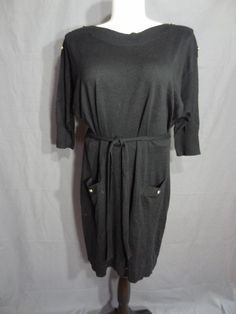 NWOT LANE BRYANT PLUS Sz 18/20 BLACK SWEATER DRESS WITH BUTTONS WOMEN #LaneBryant #SweaterDress #Casual