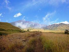 Trekking path to Sembalun crater rim, passing a vast savanna land. Photo by Rini Raharjanti