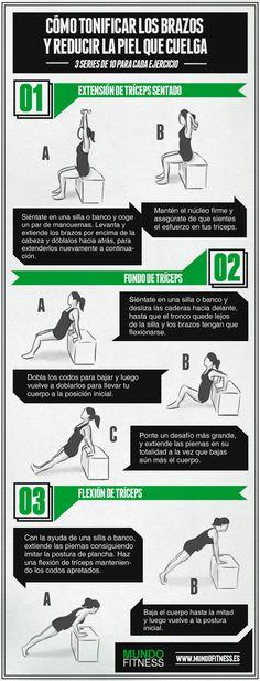 3 ejercicios sencillos para tonificar los brazos de murciélago. #fitness #deporte #ejercicio