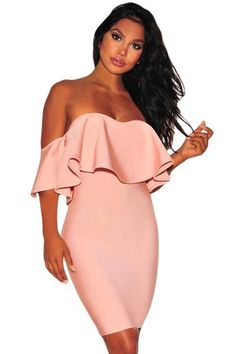 Blush Pink Ruffle Off Shoulder Party Bandage Dress