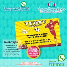 Convite de Aniversário Infantil The Flash para enviar por Whatsapp onde você recebe a arte em alta resolução para imprimir na gráfica, fototica ou em casa
