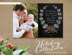 Christmas Card / Holiday Cards / Peace, Love & Glitter / Glitter Wreath and Bow / Wishing you peace, love and joy