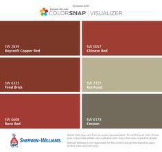 I found these colors with ColorSnap Visualizer for iPhone by Sherwin-Williams: Roycroft Copper Red (SW Fired Brick (SW Rave Red (SW Chinese Red (SW Koi Pond (SW Cocoon (SW Exterior Paint Colors For House, Paint Colors For Living Room, Paint Colors For Home, Red Paint Colors, House Paint Color Combination, Red Houses, Front Door Colors, Red Walls, House Painting