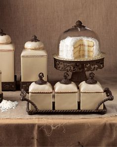 GG Collection Canisters & Cake Dome - home decor / glass cream kitchen / storage containers