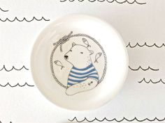 Tea Bag Holder  polar bear  blue by kimslittlemonsters on Etsy, €9.50