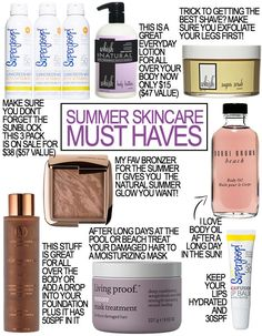 Summer Skincare Must Haves // how to have glowing tan skin and get a great shave.