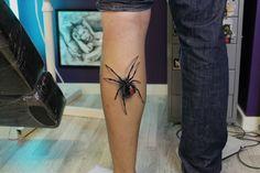 Realistic spider tattoo by @KennSkogli. Instagram: kennskogli_tattoo #kennskogli #spider #tattoo #3D #tattoos