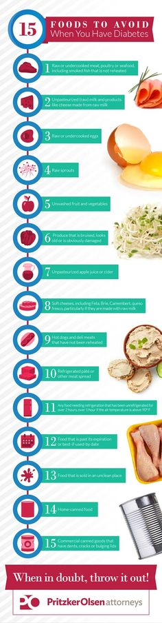Diabetes and Food Safety Infographic http://www.pritzkerlaw.com/personal-injury/2016/15-foods-to-avoid-if-you-have-diabetes/