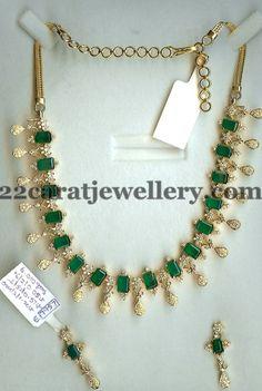 Facet Cut Diamond Emeralds Set | Jewellery Designs